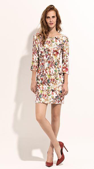 1c1c58a6c5d0 Vestido corto estampado flores con manga francesa
