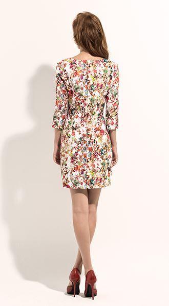 b0f1465d2b5e Vestido corto estampado flores con manga francesa